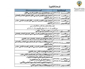 رزنامة وزارة التربية الكويت 2021