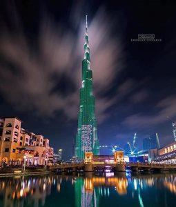 برج خليفة يتزين بألوان العلم السعودي